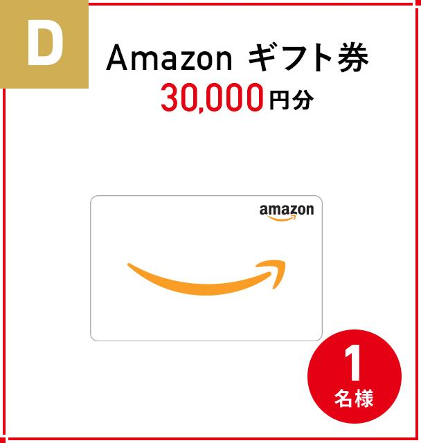 D. 『Amazonギフト券 30,000円分』 1名様