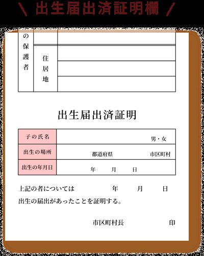 出生届出済証明欄のイメージ画像